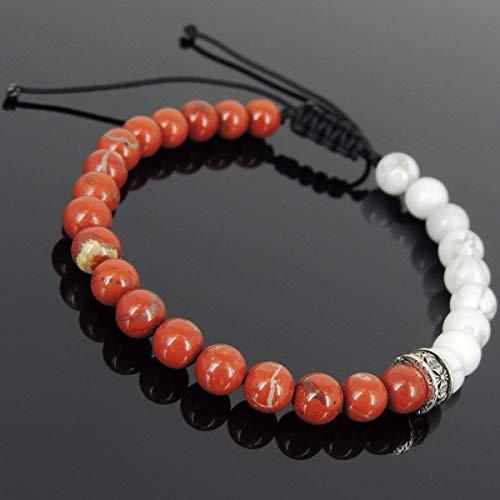 (Men and Women Adjustable Braided Drawstring Bracelet Handmade with 6mm White Howlite, Red Jasper Stone and Genuine 925 Sterling Silver Cross Spacer)