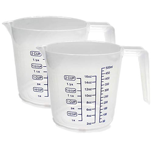 16 Oz. Clear Color Plastic Graduated Measuring Cup Pack Of 2- A Handy Kitchen Tool That Really Measures Up! Use This Plastic Measuring Cup To Measure Cups, Ounces, Pints Or Ml. – By Kitch N' Wares