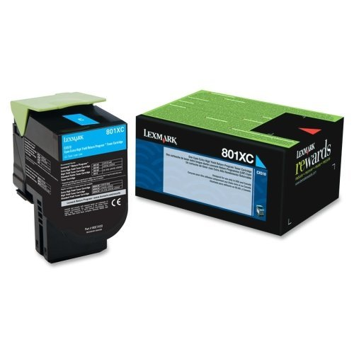 "Lexmark International, Inc - Lexmark 801Xc Cyan Extra High Yield Return Program Toner Cartridge - Cyan - Laser - 4000 Page - 1 Each - Oem ""Product Category: Print Supplies/Ink/Toner Cartridges"""