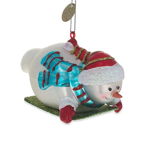 (BestPysanky Snowman Riding The Sled Blown Glass Christmas Ornament 2.3 Inches)