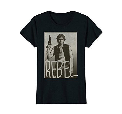 Womens Star Wars Han Solo REBEL Portrait Graphic T-Shirt Large Black (Solo Portrait)