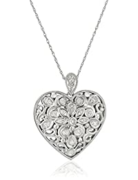 Sterling Silver Diamond Filigree Floral Heart Pendant Necklace, 18""