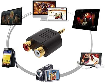 Peanutato 1 x 3,5 mm tragbarer Stereo-Lautsprecher in Gold f/ür 2 x RCA Adapter Buchse f/ür TV Telefon Desktop DV Rot + Wei/ß
