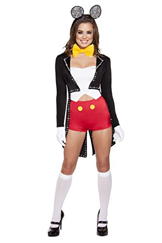 5 Piece Miss Mouse Rave Top Jacket & Shorts w/Accessories Party Costume