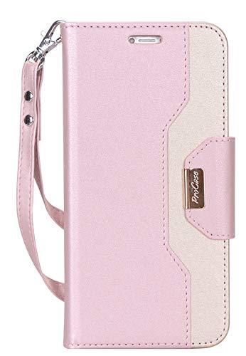 ProCase Wallet Case for iPhone XS Max, Folio Flip Case with Kickstand Card Holder, Folding Stand Protective Cover for Apple iPhone XS Max 6.5 Inch 2018 Release -Pink
