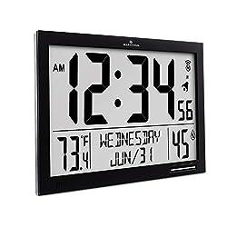 Marathon CL030062-FD-BK Slim Atomic Wall Clock. Jumbo Full Calendar Display. Indoor Temperature & Humidity (New Full Display) Color- Midnight Black.