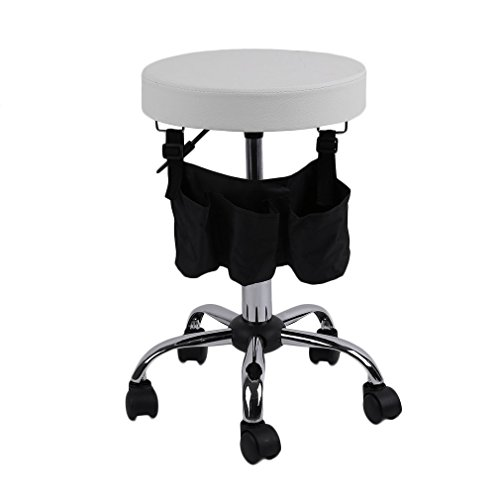 Homgrace Beauty Salon Rolling Swivel Stool, Tattoo Massage Facial Spa Adjustable Backrest Beauty Stool Chair (White 1) by Homgrace