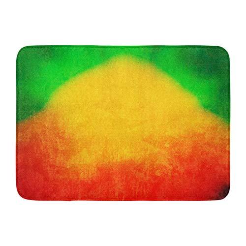 Emvency Doormats Bath Rugs Outdoor/Indoor Door Mat Colorful Jamaica Reggae Green Rasta Jamaican Color Flag Marley Bathroom Decor Rug Bath Mat 16
