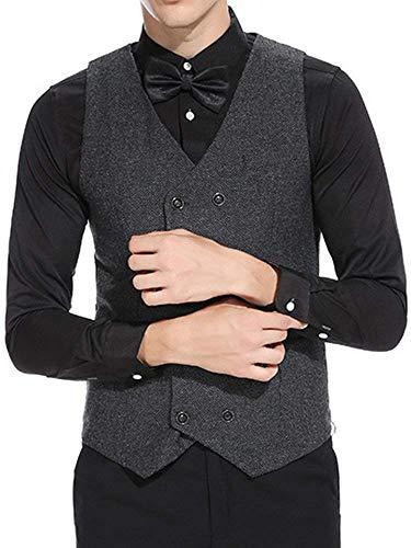 Pour Schwarz Fit Solide Slim Vintage À Mariage Boutonnage Womens V Double Vêtements Vest neck OHUXAa