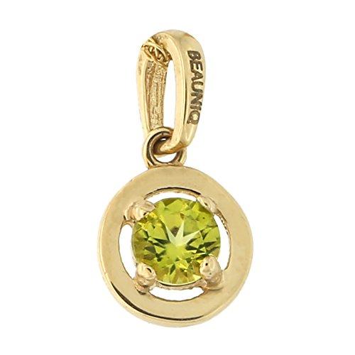 Beauniq 14k Yellow Gold Peridot Solitaire Pendant Necklace, pendant only (14k Yellow Pendant Peridot Gold)