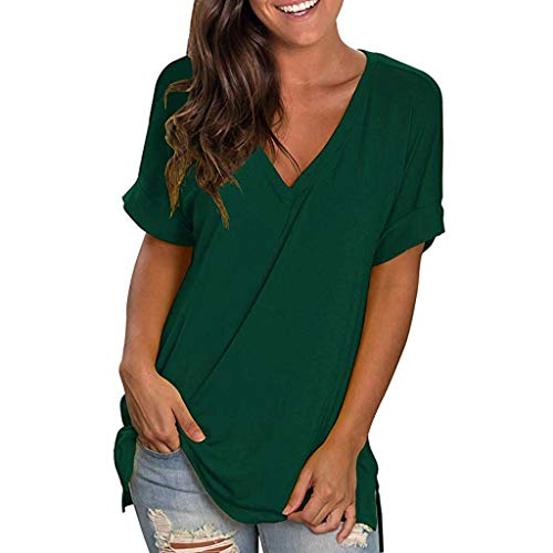 - Leisuraly Women's Basic V Neck Short Sleeve T Shirts Summer Casual Tops Loose Tee T-Shirt Blouses Green