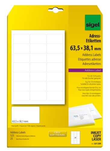 Sigel LA320 Adress-Etiketten weiß, 63,5 x 38,1 mm, 525 Etiketten = 25 Blatt, abgerundete Ecken