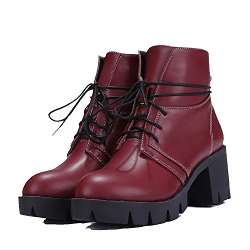Lace Round Toe Kitten Women's Soft Allhqfashion Closed Material Boots Heels Solid up Claret Waz11xn
