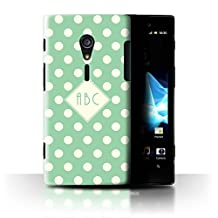 Personalized Custom Polka Dot Case for Sony Xperia ion LTE/LT28 / Green Design / Initial/Name/Text DIY Cover
