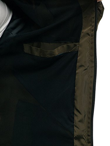 hs06 Entretiempo Hombre De Alto Cremallera Cuello Motivo Verde De Cierre Chaqueta Acolchada BOLF 4D4 fOAxwtf