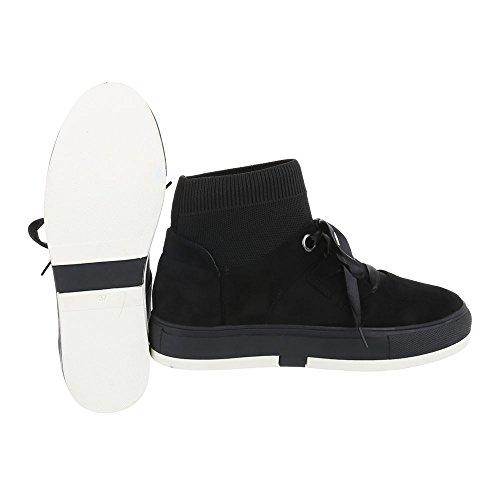 Ital-Design Chaussures Femme Baskets Mode Plat Sneakers Espadrilles High Noir Xq55048 Em6VAaf