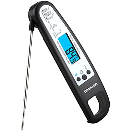 GDEALER Meat Thermometer Digital Cooking Thermometer Electronic Instant Read Thermometer Food Thermometer With Blue Backlit LCD Display Foldable Long Probe For Kitchen Grill Smoker BBQ Milk Candy