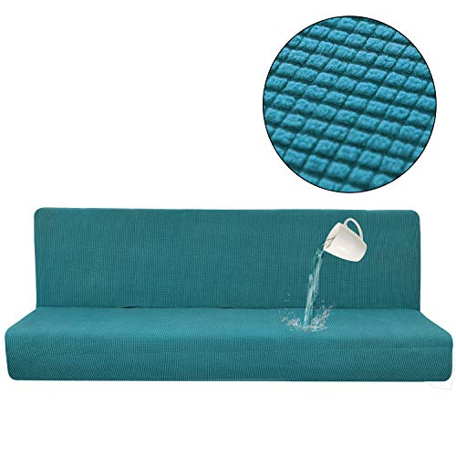 CoutureBridal Waterproof Sofa Covers Teal Armless Solid Color One Piece Sofa Slipcover Folding Couch Sofa Shield Spandex Futon Cover for Living Room