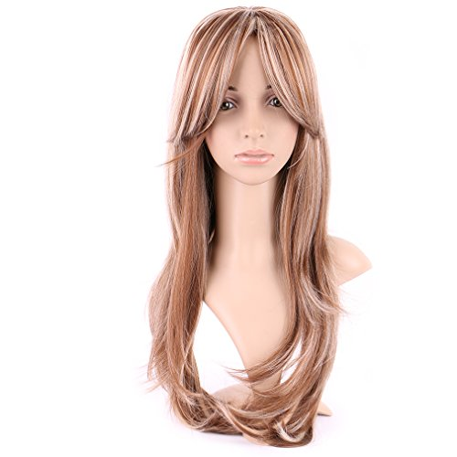 Curly Blonde Synthetic Wig with Bang Long 20 Styles Heat Resistant Full Wig 8.5'' / 18.5 inch+Stretchable Elastic Wig Net for Women Girls Lady,Brown blonde mix