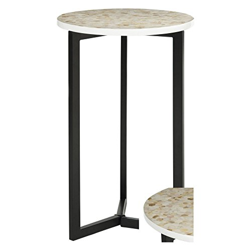 Safavieh Home Collection Zaira End Table, Cream Shell Inlay Accent Table