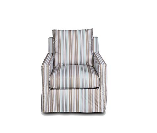 - Sunset Trading SU-159593-395225 Seaside Swivel Chair, Light Brown/Tan/Gray/Blue/White