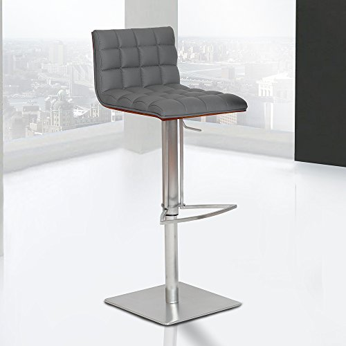 Armen Living LCOSSWBAGRB201 Oslo Adjustable Barstool in Grey Faux Leather and Brushed Stainless Steel Finish ()