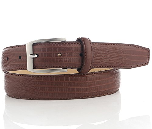 Brown Leather Belt for Men with Crocodile Grain 44 (Brown Crocodile Belt)