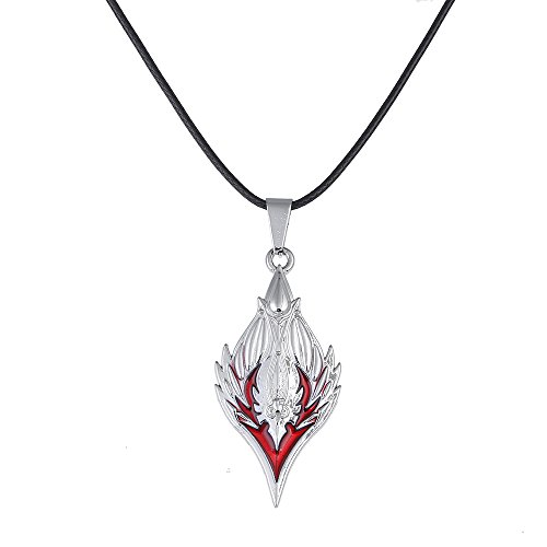 Lureme WOW Horde Logo Pendant on Leather Cord Necklace