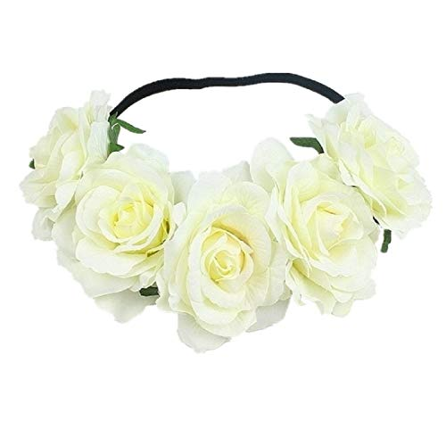 DreamLily Women's Hawaiian Stretch Flower Headband for Garland Party BC12(Ivory) ()