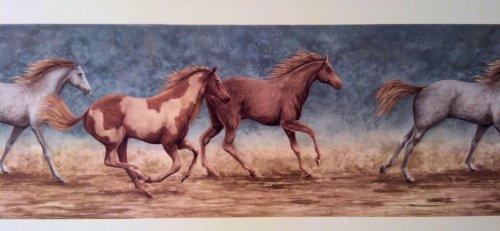 Wallpaper Border Running Wild Horses Blue... ()