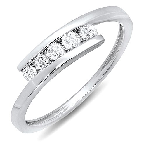 0.25 Carat (ctw) 10k White Gold Round White Diamond Ladies 5 Stone Bridal Promise Ring 1/4 CT 41cVxags5mL home Home 41cVxags5mL