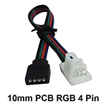LED RGB Connector with 4 Pin Connector Female Black, 50pcs, Connect 10mm 5050 RGB LED Strip to Controller