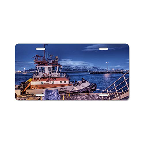 Whaling Boat (Gndishangd Top Craft Case Black Iceland whaling Boats License Plate Auto Car Tag)