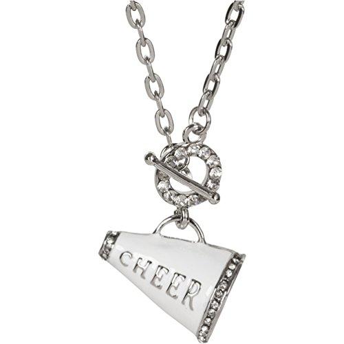 Heirloom Finds Crystal Enamel Cheerleader Cheer Megaphone Toggle Necklace