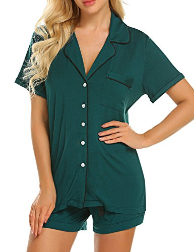 Ekouaer Women's Soft Lightweight Sleepwear Jersey Pajamas Top with Shorts Set (Green,L)