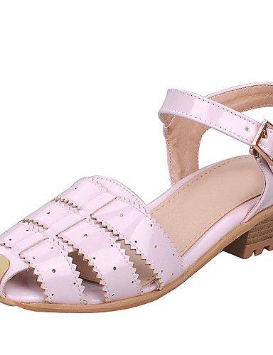 LFNLYX Zapatos de mujer-Tacón Bajo-Gladiador / Punta Redonda-Sandalias-Vestido / Casual-Cuero Patentado-Rosa / Rojo / Blanco / Plata Silver