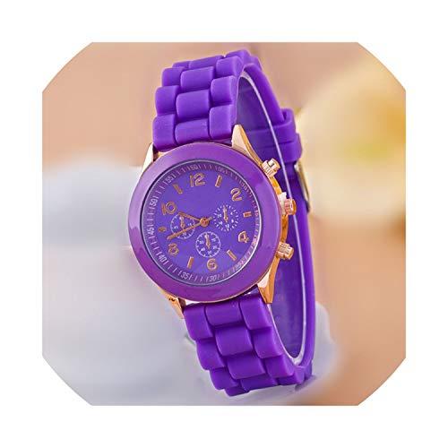 - Fashion 16 Color Quartz Women Watches Lover's Watch Classic Style Simple Casual Silica Gel Strap wristwatches Men Women's Clock,Pule