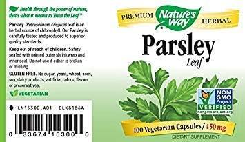 Natures Way Parsley Leaf, 450 milligrams, 100 Vegatarian Capsules. Pack of 10 Bottles