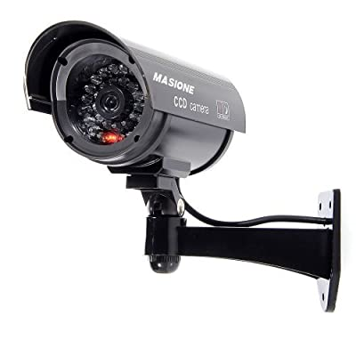 Masione™ Simulated Surveillance Cameras - New Wireless IP Camera Security Surveillance fake Dummy IR LED cameras - Night/Day Vision Look Bullet CCD CCTV Imitation Dummy Camera - Weatherproof bullet housing, multiple Flashing Blinking Red infrared LEDs, In