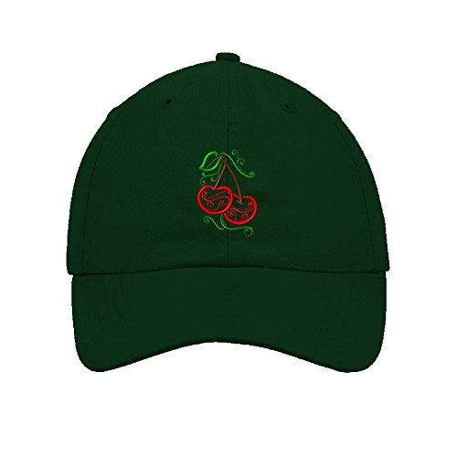 Speedy Pros Cotton Low Profile Hat Food Fruit Mylar Cherries Embroidery Forest (Forest Cherry Fruit)