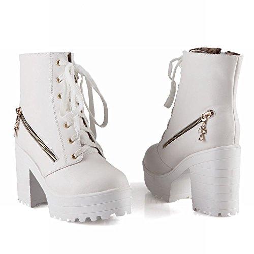 Latasa Womens Charm Ankle - Stivali Alti Martin Con Tacco Alto E Tacco Alto, Decorazione Con Cerniere, Bianco