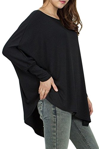 La Mujer Casual Tops Blusas Camiseta Manga Asimetrica Suelto Batwing Tee Black