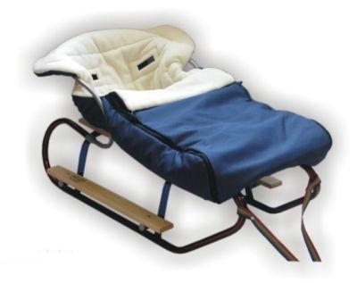 Best For Kids Schlitten mit Fußsack aus Fleece mit Rückenlehne