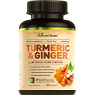 Turmeric Curcumin with Ginger, 95% Curcuminoids, Tumeric Supplements, Immune Booster,Bioperine, Apple Cider Vinegar, Supports Joint Pain Relief, Inflammatory Response, Natural Plant Immunity Support