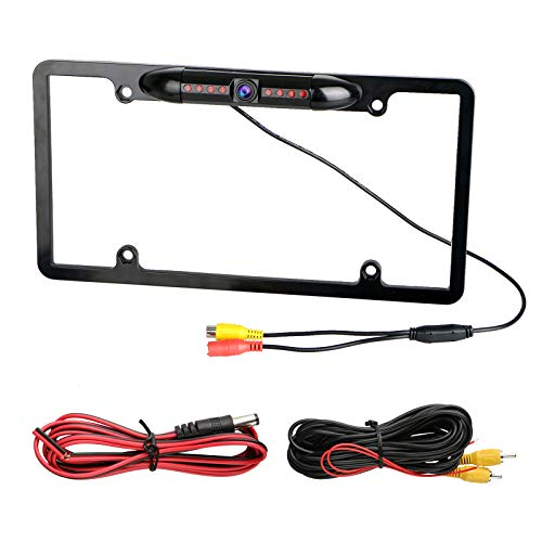 EEEKit 170° Car Rearview Backup Camera 8 IR Night Vision License Plate Frame Night Vision CMOS for All Standard Vehicles License Plates