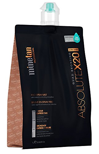 MineTan Spray Tan Solution - Absolute X20 Pro Spray Mist - Ultra Dark Salon Professional 1 Hour Express Tan, 33.8 fl oz (Best Tanning Solution Australia)