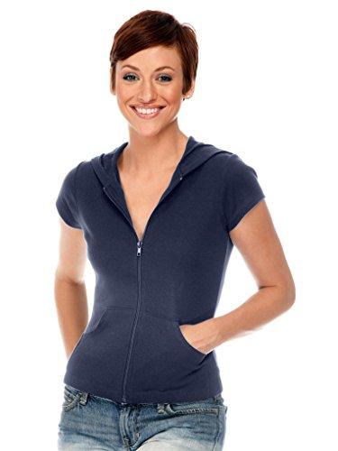 Kavio Junior Short Sleeve Zip Hoodie Navy S - Juniors Zip Hoodie