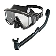 Cressi Panoramic Dive Mask and Supernova Dry Snorkel Combo-Black