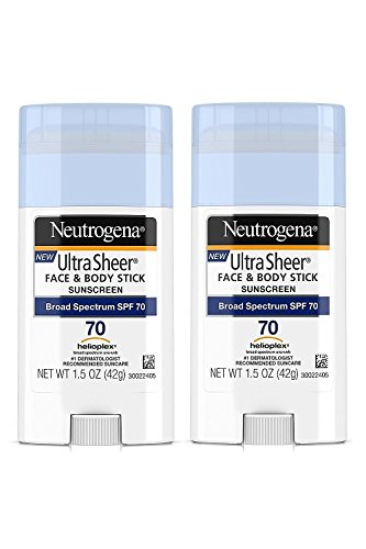 Neutrogena Ultra Sheer Non-Greasy Sunscreen Stick for Face & Body, Broad Spectrum SPF 70, 1.5 oz (Pack of 2)