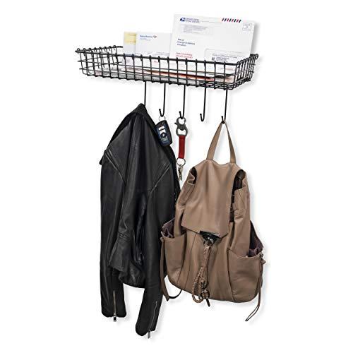 Wall35 Entryway Organizer - Farmhouse Rustic Decor - Wall Mounted Coat Rack - Metal Wire Basket with Key Hooks Black